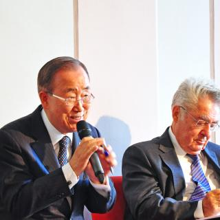 Ban Ki-moon, former United Nations Secretary-General and Co-chair of the Ban Ki-moon Centre, Heinz Fischer, former Federal President of Austria and Co-chair of the Centre